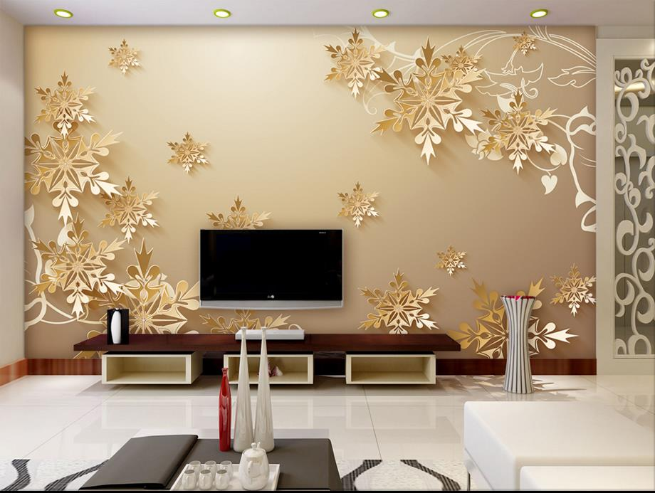 Buy golden snowflakes 3d room wallpaper for Best wall decor for living room