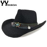Straw Western Cowboy Hat Men Hand Made Beach Felt Sunhats Summer Party Cap For Man Woman