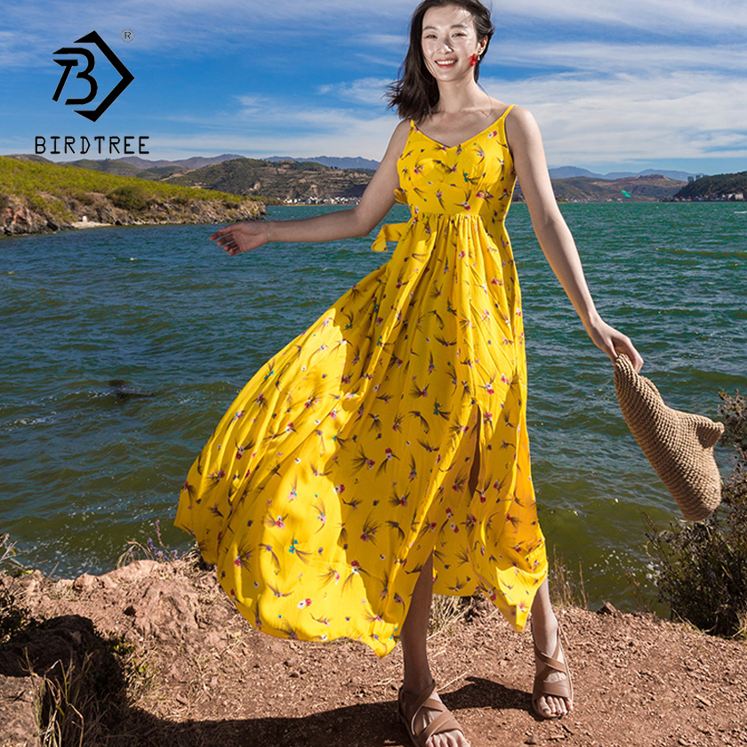 2018 Summer New Arrival Print Sling Woman Dresses Bohemian Beach Backless Chiffon Split Dresses Hot Sales Korean Style D81722C