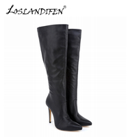 Sexy Women Knee High Boots PU Leather Boots Pointed Toe High Heels Female Autumn Winter Stretch