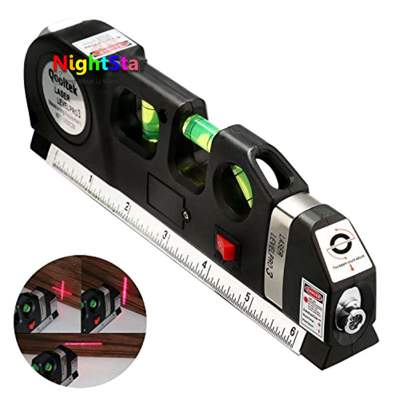 Laser Level Horizon Vertical Measure 8FT Aligner Standard and Metric Rulers Multipurpose Measure Level Laser Black