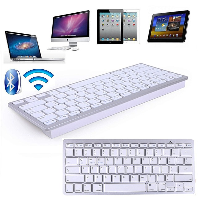 kemile Russian Wireless Bluetooth 3.0 keyboard for Tablet Laptop Smartphone Support iOS Windows Android System Silver and Black 5