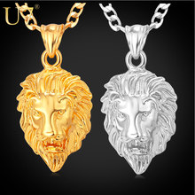 U7 Men Jewelry Cool Lion Head Pendant Gift New Trendy 2 Sizes Options Gold Plated Exquisite Pendant Fashion Necklace P333