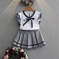 Hurave Summer Korean Baby Girls Clothing Set Children Shirt Dress Suit 2 Kids Clothes Set Suit