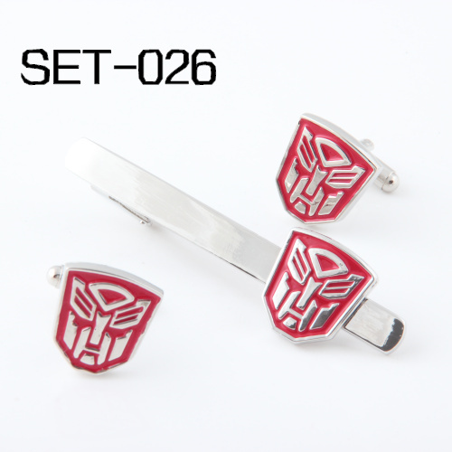 Novelty Interesting Tie Clips & Cufflinks Set  Can be mixed Free Shipping Set 026 Red  Autobots  Superhero Series