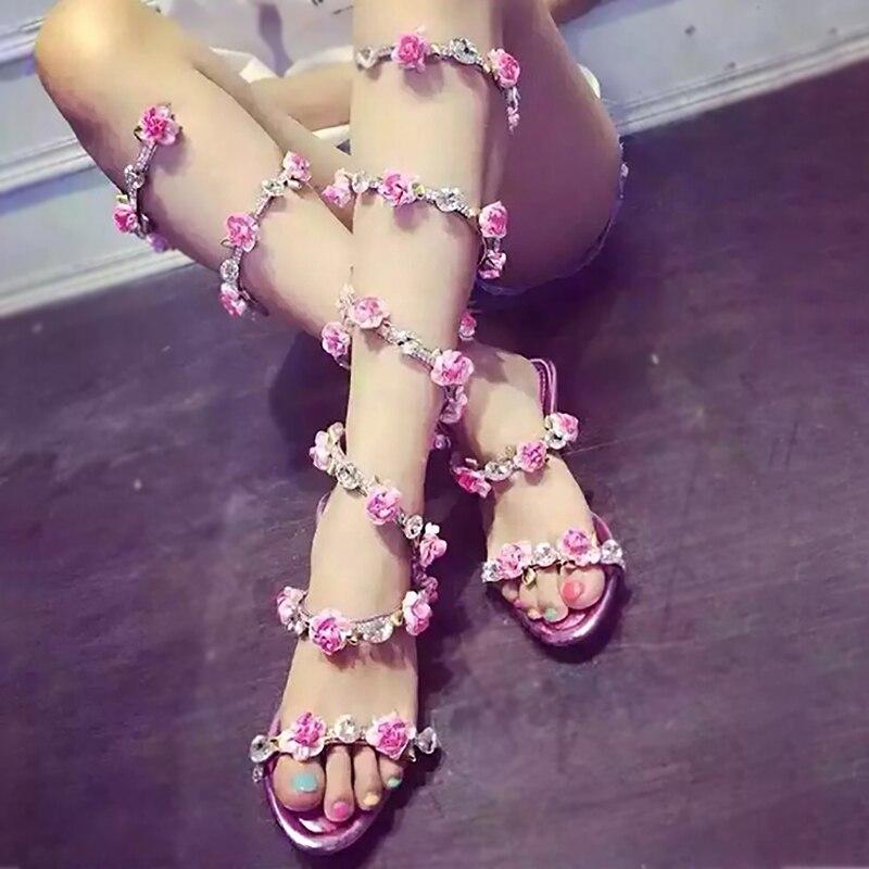 Women Summer Shoes Pink Flat Wedge Platform Sandals High Heels Snake Strap Crystal Women Gladiator Sandals