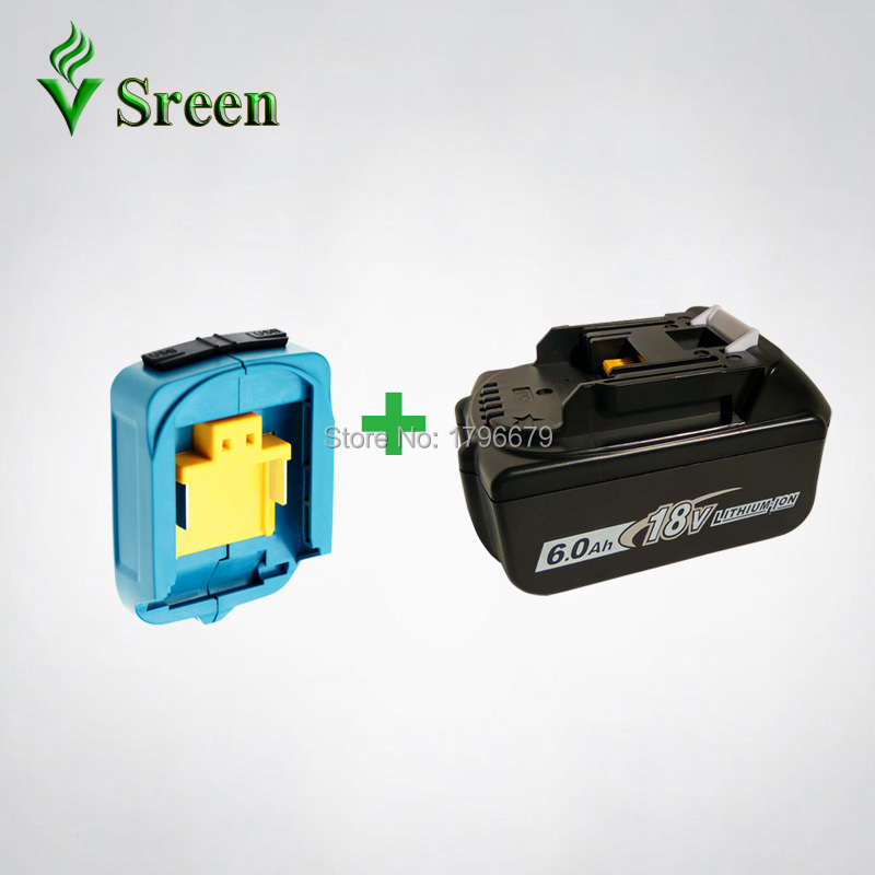 BL1860 6000mAh Rechargeable Lithium Ion Battery Replacement for Makita 18V BL1840 BL1830 LXT Power Tools with Dual USB Converter 6000mah bl1860 rechargeable li ion battery with power tool battery adapter replacement for makita 18v bl1830 bl1840 usb charger