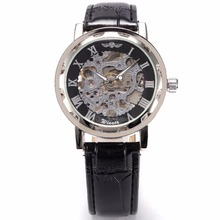 WINNER Luxury Relogio Skeleton Transparent Stainless Men Full Steel Watch Case Classic Gift Mechanical Hand Wind Watch / PMW001
