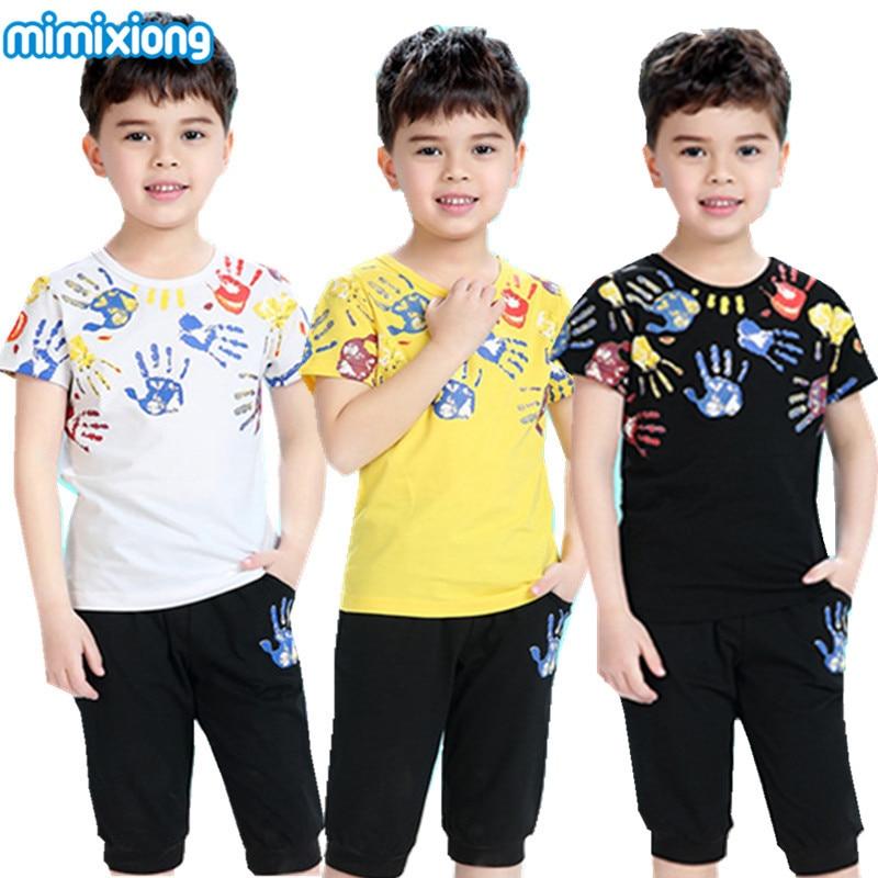 Graffiti Hand Boy Summer Shirt Black Shorts Clothes Suit White Children S Fashion Costumes Sets 2017
