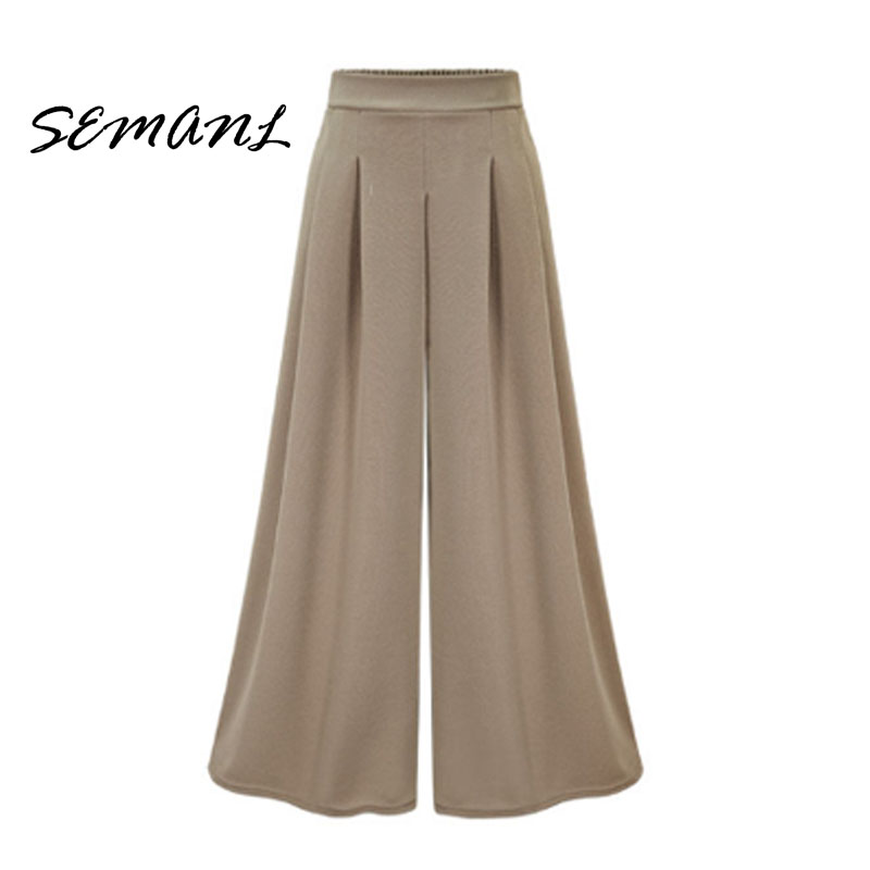 2018 Spring Summer European Style Women Trousers Casual Loose   Wide     Leg     Pants   Plus Size Thin Design Female Street Brand Capris