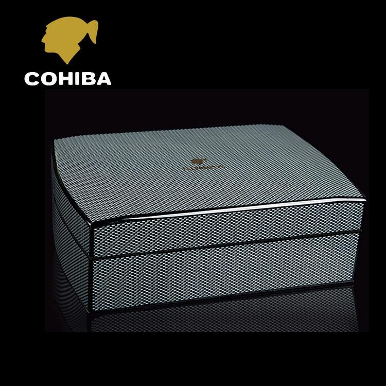 De luxe Noir En Fiber De Carbone Bois De Cèdre Cubain Cave À Cigares MINI Boîte De Rangement avec Hygromètre Humidificateur