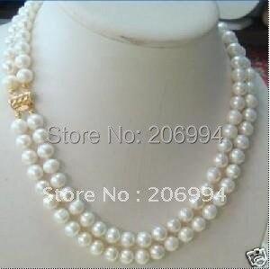 Цена по прейскуранту завода 2 ряда 7-8 мм Двухрядное белое пресноводное жемчужное ожерелье жемчужные ювелирные изделия Модные ювелирные изделия