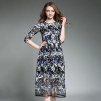 Mesh Dresses Women Summer 2017 Floral Embroidery Vestido Mujer O Neck High Waist Dress Feminine Black