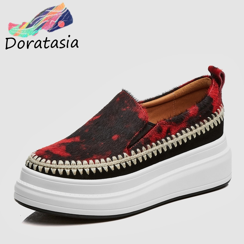 DORATASIA 2019 New Fashion Sewing Horsehair Flat Platform Shoes Woman Spring Casual Loafers Ladies Comfort Women Shoes WomanDORATASIA 2019 New Fashion Sewing Horsehair Flat Platform Shoes Woman Spring Casual Loafers Ladies Comfort Women Shoes Woman