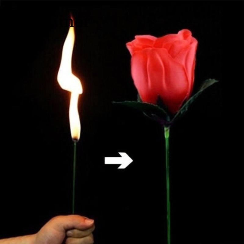 Torch To Flower - Torch To Rose - Fire Magic Trick Flame Appearing Flower Professional Magician Bar Illusion Props