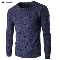 2018 Autumn Mens Pullover Knitted Sweaters Simple Style Round Neck Sweater Jumpers Winter Slim Fit Male Knitwear Sueter Hombre
