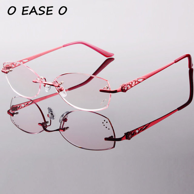 5e30ab2090 Latest Titanium Rimless Glasses Korean Women Optical Frame Including 1.61  Asphereic Tinted HMC UV400 EMI Lens