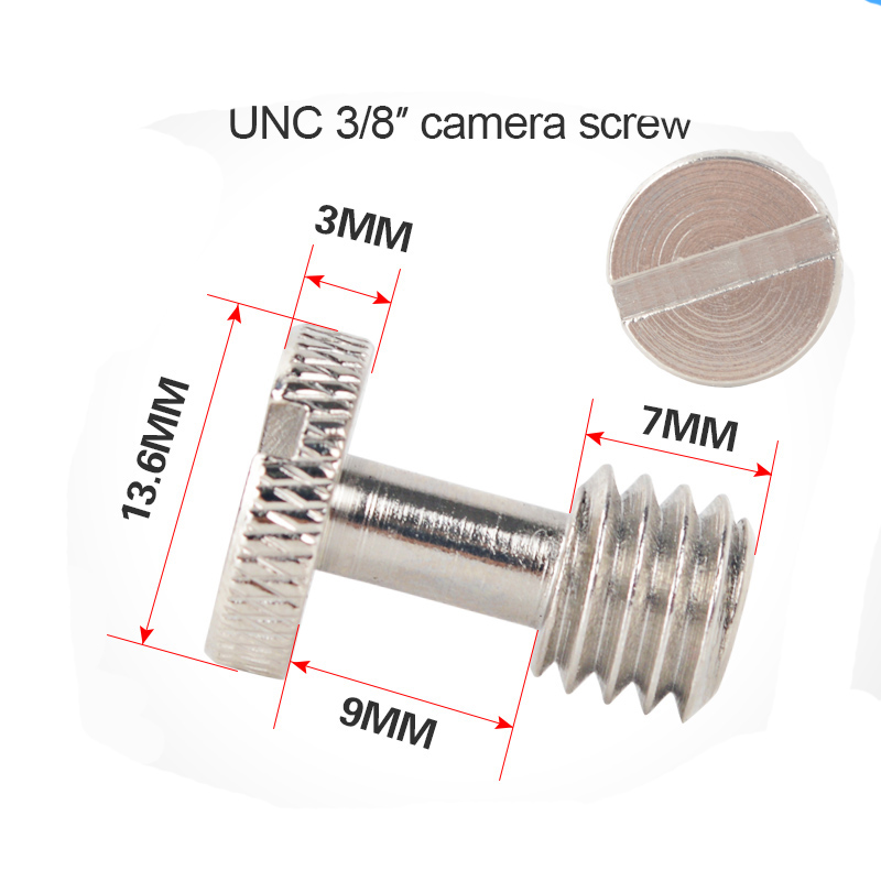 10pcs 3/8 long camera screw flat head Convert Slotted Screw Adapter For Camera Tripod Monopod Quick Release Plate Mounting Rig