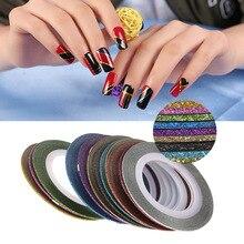 12 шт 3D наклейки для ногтей в рулонах блестящая тонкая полоскающая лента для обертывания блестящая линия для дизайна ногтей наклейки для украшения ногтей DIY наклейки