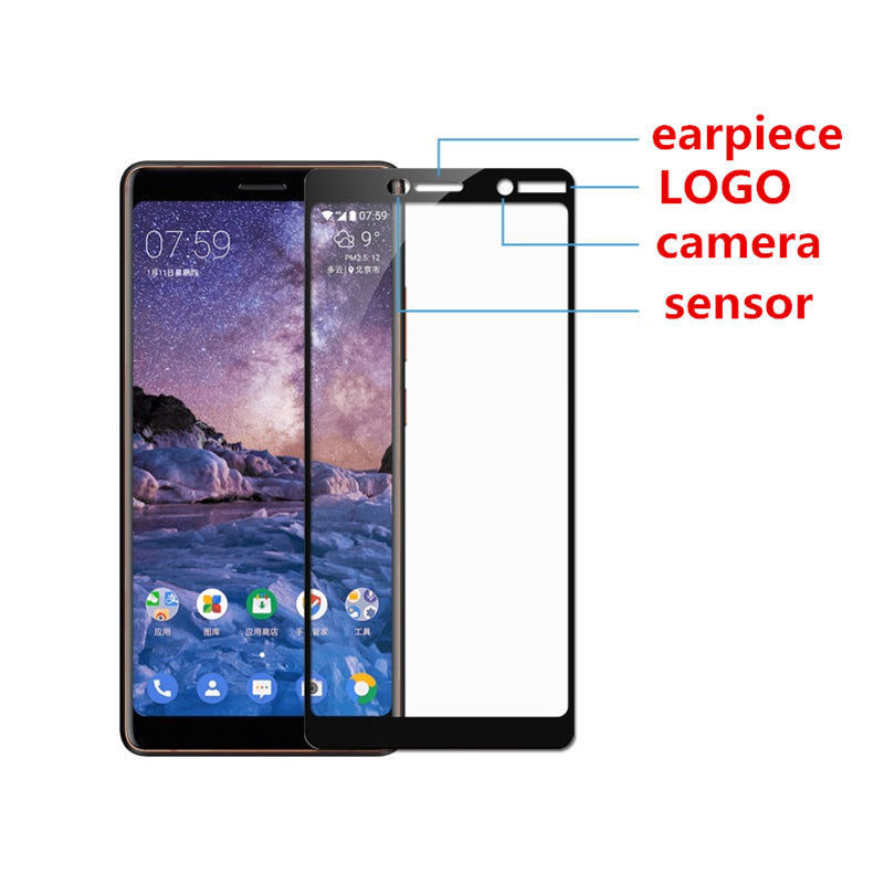 2 pcs Full cover Tempered Glass For Nokia 7 screen protective case 9H toughened black frame edges on smartphone case friendly in Phone Screen Protectors from Cellphones Telecommunications