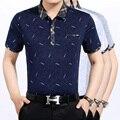 Летние мужские случайные полосатый хлопчатобумажная рубашка с коротким рукавом и отложным воротником полоску рубашка-поло