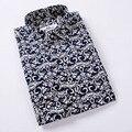 Мужчины Печатных Рубашку Camisetas 2016 Мужская Мода Вмс Pattern С Длинными Рукавами Рубашки Мужские Случайные Рубашки Высокого Качества Большой Размер 5XL