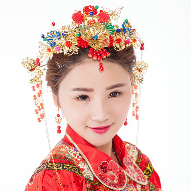Classical Chinese Style Bridal Jewelry Red Phoenix Chinese Wedding