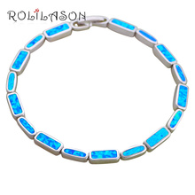 ROLILASON Romantic Christmas Gift for Girl Blue Fire Opal Silver Stamped Charm Bracelets Fashion Jewelry OB069