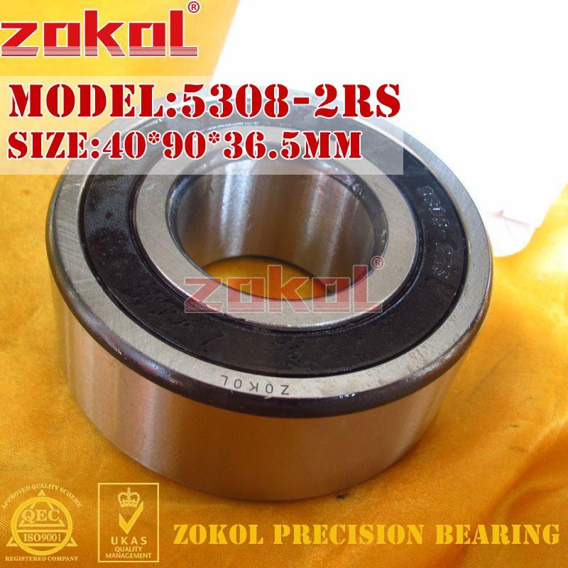ZOKOL bearing 5308 2RS 3308 2RZ (3056308) Axial Angular Contact Ball Bearing 40*90*36.5mm zokol bearing 5317 2rs 3317 2rz 3056317 axial angular contact ball bearing 85 180 73mm