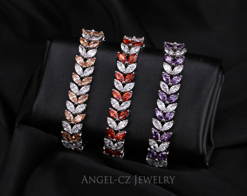 ANGELCZ 18 New Design Women Dress Jewelry Leaf Cubic Zirconia 925 Sterling Silver Strand Bracelet With Red Black Stone AB007 6