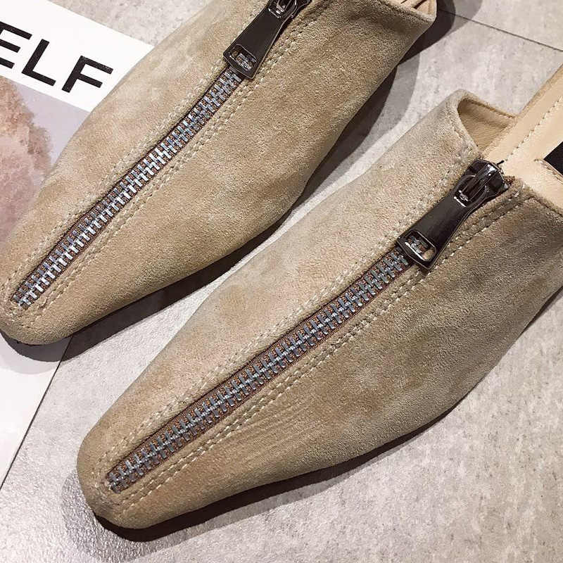 7ed0a59ba834e ... crystal heels Slippers Woman closed toe Mules Fashion Slides suede  zipper Shoes flip flops luxury sandalias ...