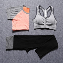 Women Yoga Sets Shirt + Bra + Leggings Fitness Workout Clothing Women's Gym Sports Running Girls Slim Pants Sport Suit T006BB