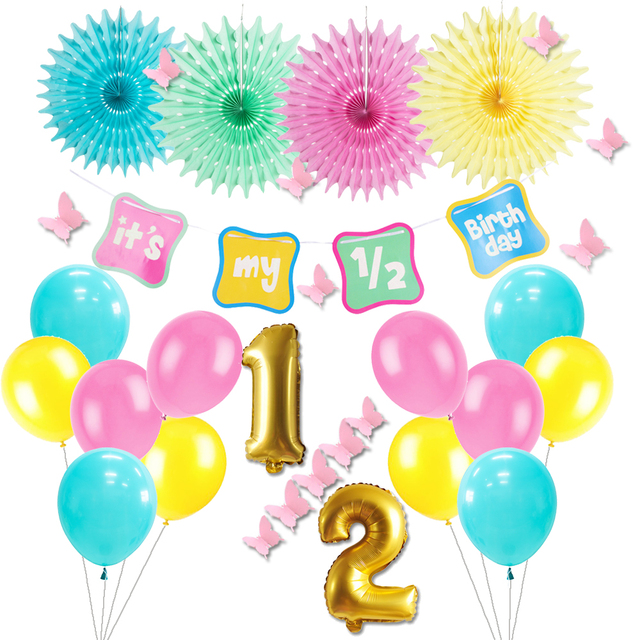 19pcs 1 2 Birthday Party Decoration Its My Banner Foil Number Balloons 6 Months Half