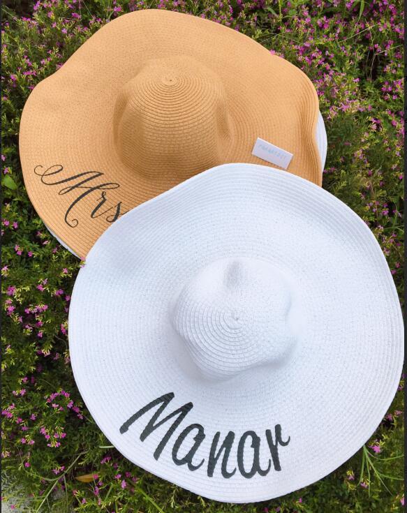 4bb1aae02b9e2 Online Shop Customize beach wedding Bride bridesmaid maid of honor Bachelorette  floppy Sequin Sun Wide Brim Hats Honeymoon party gifts