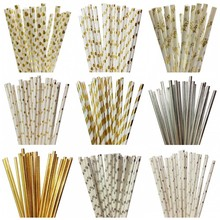 25pcs/lot Foil Gold/Silver Drinking Paper Straws Mickey Mouse Cake Flags For Birthday Wedding Decorative Party Event Supplies