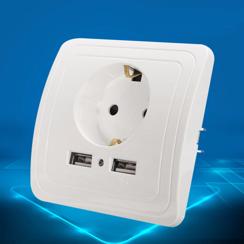 5pcs Best Dual 2 USB Port 5V 2A Wall Charger Plug Socket Electrical Power Outlet Charger Connector Adapter