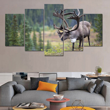 HD Printed Modern Canvas Painting Wall Art Poster Modular 5 Panel Deer Landscape Pictures Home Decoration Living Room Frame