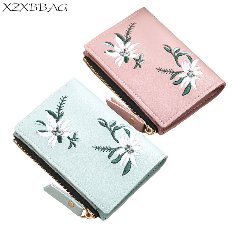 XZXBBAG Fashion Female Embroidered Hasp Zipper Short Wallet Women Flowers PU Coin Purse Girl Money Bag Thin Small Wallet XB460 xzxbbag fashion female zipper big capacity wallet multiple card holder coin purse lady money bag woman multifunction handbag
