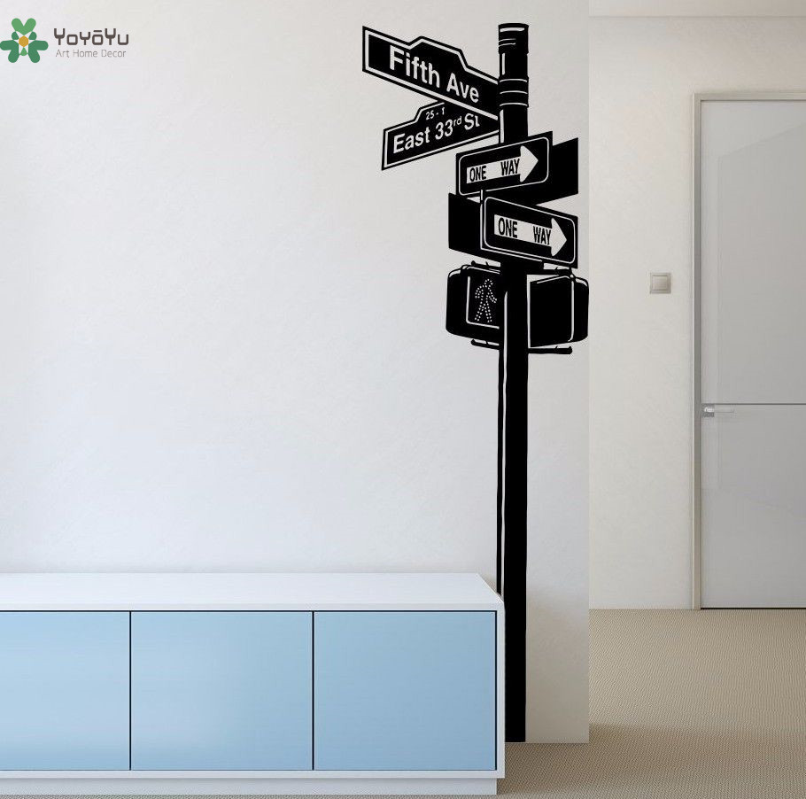 """YOYOYU Road signs Vinyl Wall Decal """"Fifth Ave"""" New York Sign Indicator Interior Living Room Home Art Decoration Stickers FD368"""