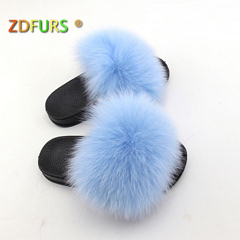 Apparel Accessories Girl's Gloves Expressive Zdfurs* 2018 Kids Real Fox Fur Girls Slipper Spring Summer Natural Fur Slides Children Indoor Outdoor Fashion Shoes Luxury Fox Possessing Chinese Flavors