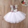 Crianças Bebê Meninas Floral Vestido de Festa vestido de Baile Formal Vestidos Backless Vestido de Verão verão 0-6Y crianças roupa DA CRIANÇA da princesa