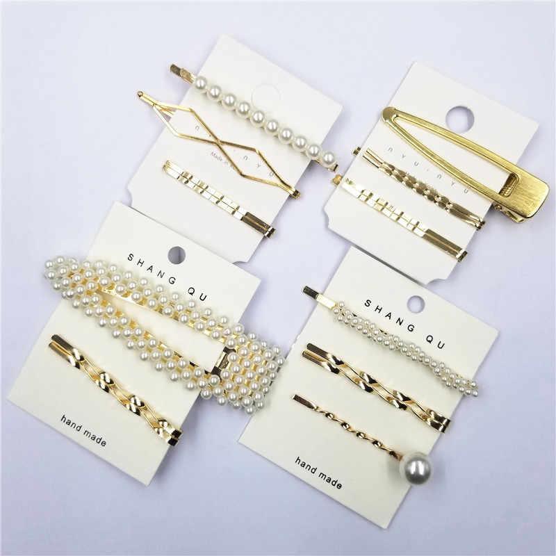 Sprzedaż 3 sztuk/partia koreański wysokiej jakości kobiety spinki do włosów słodkie dziewczyny Pearl złoty kolor Barrette akcesoria do włosów kobiet Bang klip