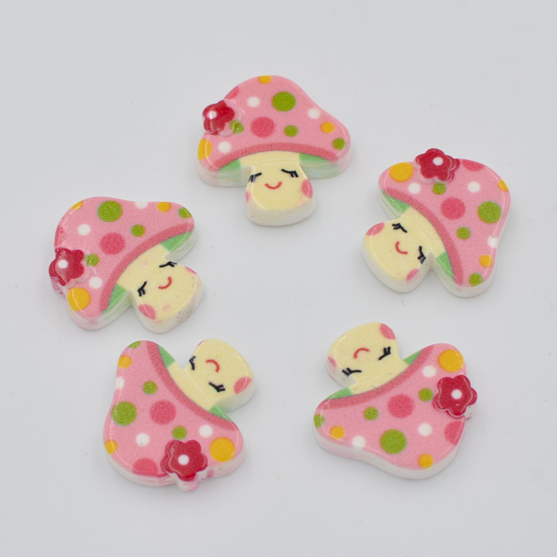 DIY 100Pcs 18mm Resin Hand Painting Mushroom Flatback Stone/Children Scrapbook Crafts K96*10