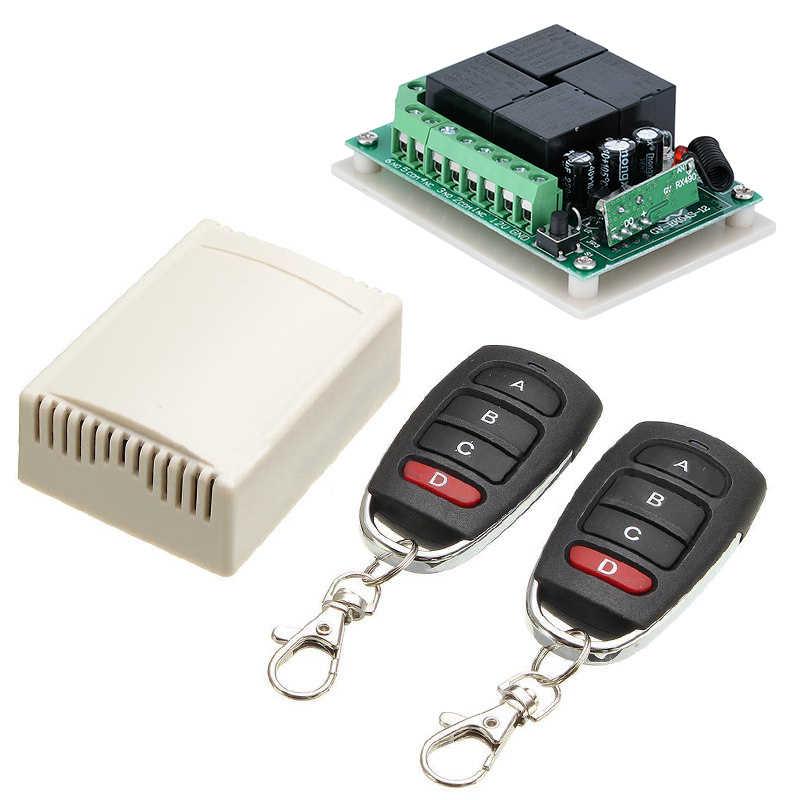 Mayitr New 433 mHZ 12V 4CH Channel Relay RF Wireless Remote Control Switch  Receiver+2 Transmitter