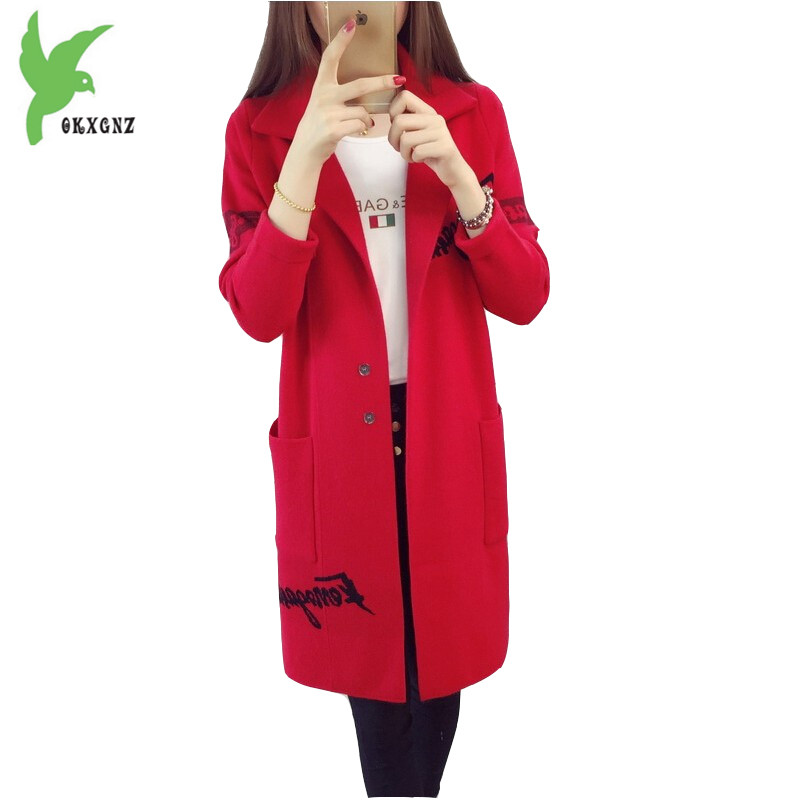 Tricoté Long red black Plus Manteau Épais Solide Printemps Couleur Hiver Élégant Femmes Okxgnz Automne Cardigan Navy Mode Chandail gray Moyen De La A873 Nouveau Taille wBXaqSp