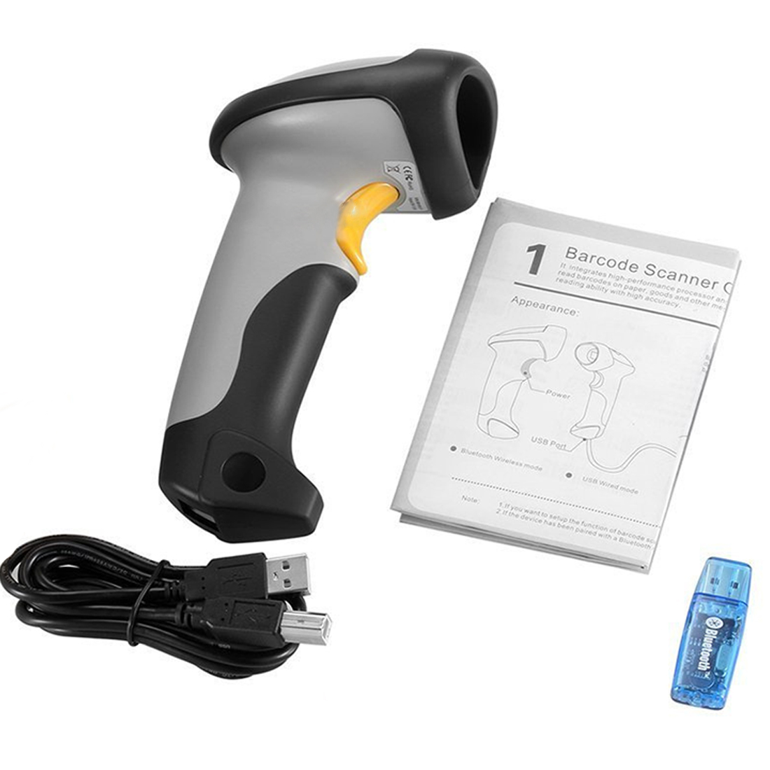 NOYOKERE ABS+TPU CT10 Wireless Bluetooth 1D Barcode Scanner Mini Barcode reader for iOS Android windows System bar scanner