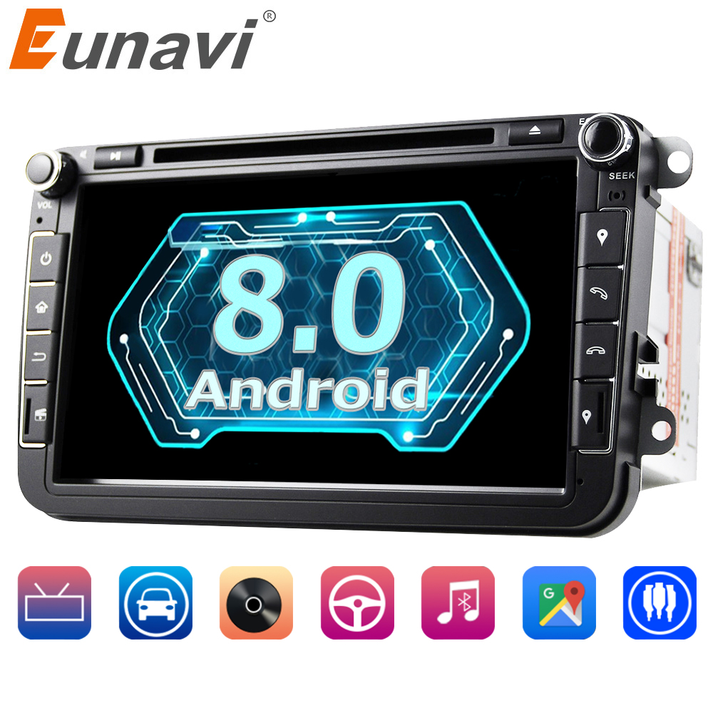 Eunavi 2 din 8'' Octa core Android 8.0 Car DVD Player GPS for VW Passat CC Polo GOLF 5 6 Touran EOS T5 Sharan Jetta Tiguan Radio
