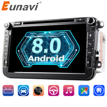 "Eunavi 2 din 8"" Octa core Android 8.0 Car DVD Player GPS for VW Passat CC Polo GOLF 5 6 Touran EOS T5 Sharan Jetta Tiguan Radio"