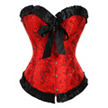 Sexy Red Dragon Jacquard Corsé de Overbust Lace Up Bustier Cintura talladora de la Ropa Interior Deshuesada Corista Clubwear Ml XL