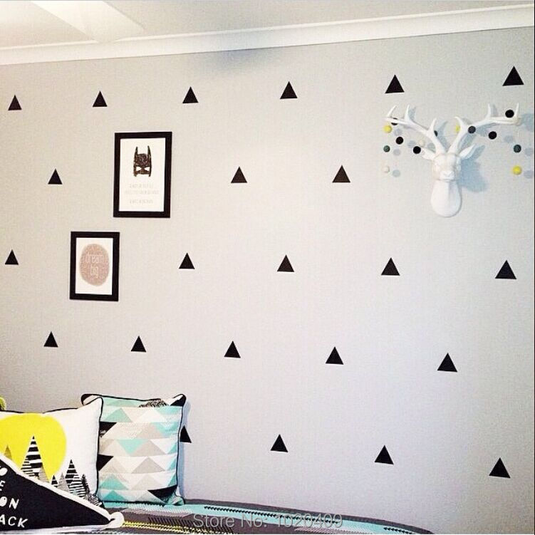 High-quality children products Nordic ins exclusive custom geometry Triangles sticker dot star pattern green PVC wall stickers(China (Mainland))